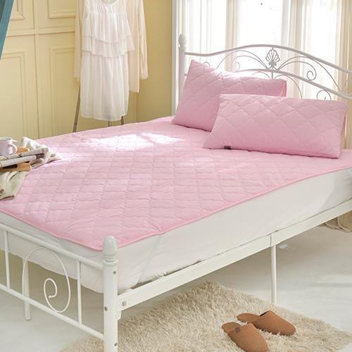 義大利La Belle《粉漾素色》單人涼感抑菌防水平面式保潔墊-粉