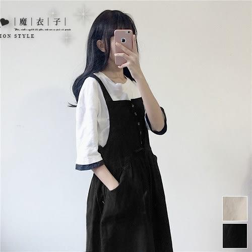 【QV2402】魔衣子-排釦抽繩收腰側雙口袋吊帶裙