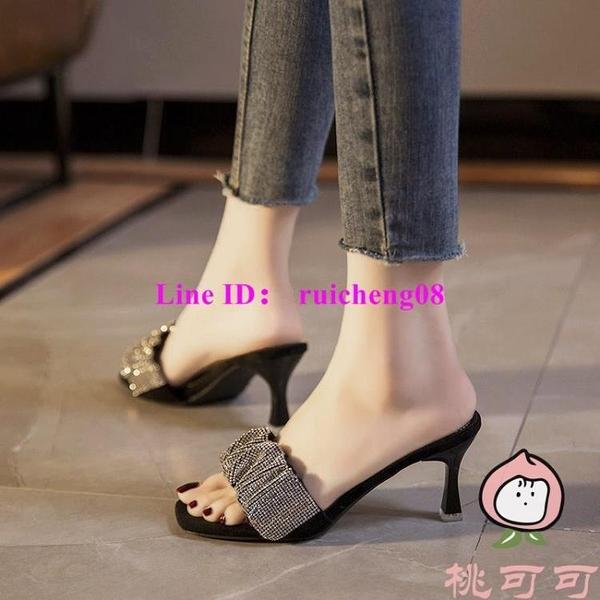 拖鞋女性感水鉆一字拖夏季時尚百搭露趾細跟高跟涼拖【桃可可服飾】