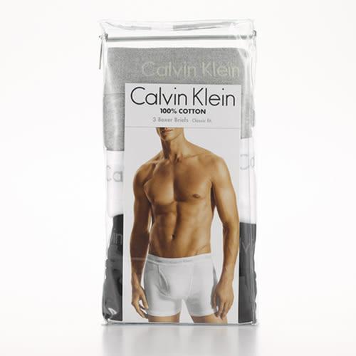【隔日出貨】Calvin Klein 男彈性純棉平口內褲三入(黑/白/灰)