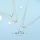 s925純銀日韓風鑲鉆雙層蝴蝶項鏈小眾設計鏤空雙碟鎖骨鏈女