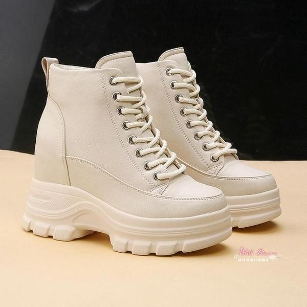 瘦瘦靴 網紅短靴子女秋款2019新款厚底女鞋內增高冬季瘦瘦靴英倫風馬丁靴34-39碼 2色