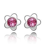 水晶耳環 925純銀(耳針式)-可愛小花生日情人節禮物女飾品11色73bd1【時尚巴黎】