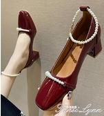 單鞋女粗跟2021年春新款法式復古婚鞋方頭瑪麗珍淺口珍珠高跟鞋女 范思蓮恩