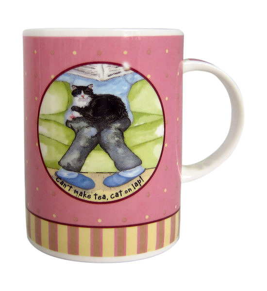 英國Hudson骨瓷馬克杯 - 腿上有貓(Can't make tea, cat on lap!)