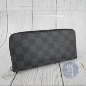 BRAND楓月 LOUIS VUITTON LV N61653 黑色 棋盤 拉鍊 長夾 錢包 錢夾 發財夾