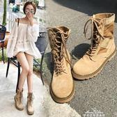 馬丁靴 機車馬丁靴女新款短靴英倫風平底學生復古韓版百搭女靴子 早秋低價促銷