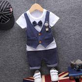 優惠兩天2018新款男寶寶夏裝男童短袖套裝0-1-2-3歲純棉嬰兒童夏季衣服潮