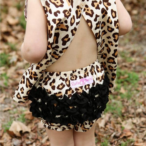 包屁褲 RuffleButts - 小女童荷葉包屁褲-豹紋款 # Leopard