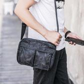 男士大容量新款 男生韓版單肩包街頭 青年型男款包潮流迷彩戶外 男款單肩包防水斜跨包