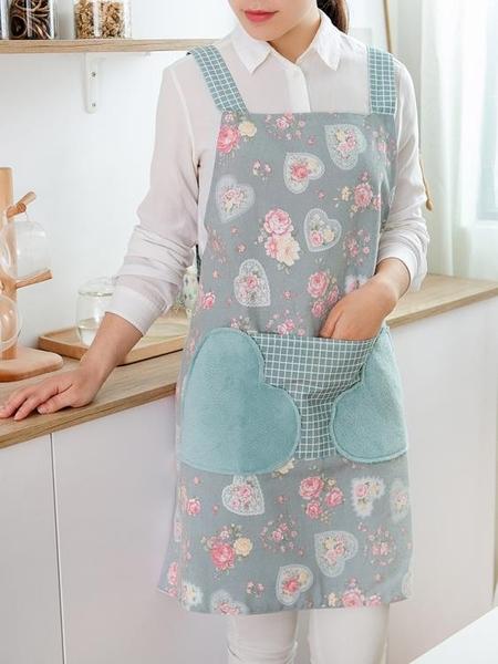 圍裙 廚房可擦手圍裙防水防油家用男女日式背心式奶茶店工作服外套護衣  美物 99免運