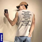 男士無袖T恤寬鬆 潮牌嘻哈坎肩沙灘健身印花運動背心男透氣  名購居家