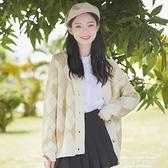 熱賣針織開衫 帛卡琪春秋新款寬鬆拼色格紋針織衫外套女長袖開衫學生毛衣潮 新品