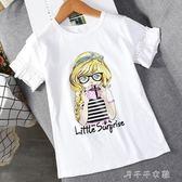 女童短袖t恤7-9-11周歲純棉3中大童喇叭袖上衣潮 千千女鞋