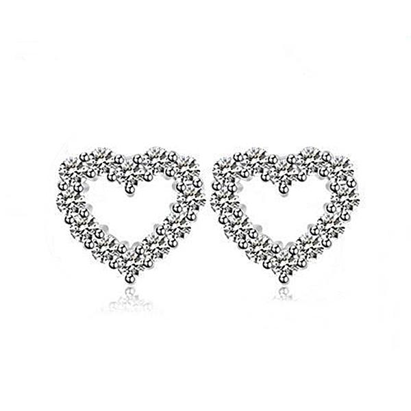 防抗過敏 空心小愛心心型 天然白水晶 耳環耳釘針-銀