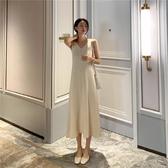 依米迦 秋季小眾背心洋裝韓版無袖過膝A字中長裙 均碼 2色