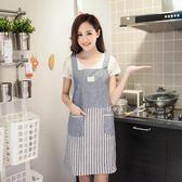 圍裙 韓版時尚廚房純棉圍裙女套袖餐廳工作服罩衣無袖背帶做飯反穿 玩趣3C