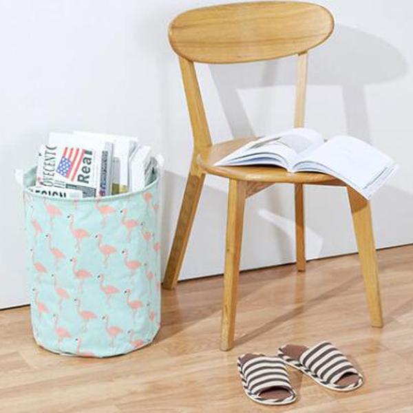【BlueCat】大圓桶紅鶴系列摺疊防水帆布衣物收納籃 汙衣籃