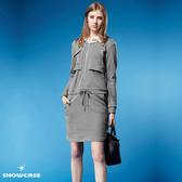 【SHOWCASE】假二件襯衫領長袖合身休閒厚棉洋裝(灰)