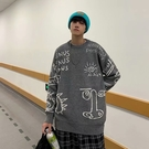 男士毛衣加厚上衣 潮流男裝個性秋冬保暖打底衫 街頭塗鴉印花男生針織衫 長袖男生韓版毛衣