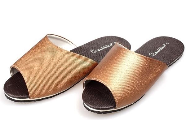 (e鞋院)金屬風時尚室內皮拖