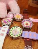 韓國手錶女學生日系原宿軟妹可愛糖果色撞色卡通粉萌圓形石英女錶『夢娜麗莎精品館』