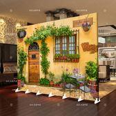 屏風隔斷時尚客廳簡約現代臥室歐式行動折疊簡易實木雙面布藝折屏 xw