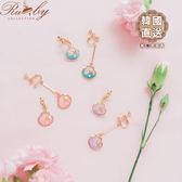 耳環 韓國直送‧亮片海星珍珠不對稱夾式耳環-粉紅色-Ruby s露比午茶
