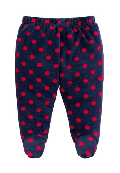 童裝 現貨 保暖天鵝絨寶寶包腳褲-07款深藍紅點【84079】