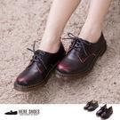 [Here Shoes]2色 加大41~44 全真牛皮質感馬汀鞋 透明底耐磨好穿 低粗跟馬汀短靴 ─KMC03G