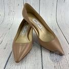 BRAND楓月 JIMMY CHOO 周仰傑 粉膚色跟鞋 #35 尖頭 皮底 皮質 全皮 高跟鞋 中跟鞋