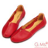 G.Ms.*MIT系列-車縫簡約造型真皮娃娃便鞋-俏皮紅