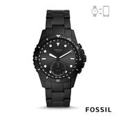 FOSSIL HYBIRD 智能手錶 FB-01-都會風尚雅黑不鏽鋼鏈帶 42MM FTW1196