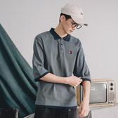 POLO衫男夏季日系復古拼色文創青年水洗刺繡【聚寶屋】