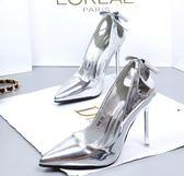 韓版新款蝴蝶結10cm高跟鞋女尖頭性感百搭細跟銀色單跟鞋 雲雨尚品