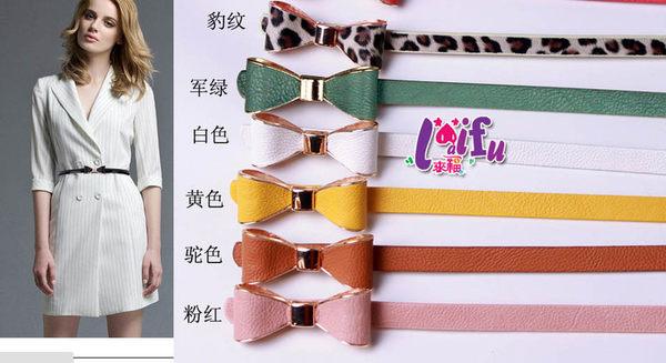 得來福,H331細腰帶氣百搭爆款甜美立體蝴蝶结貼皮細腰帶皮帶,售價99元