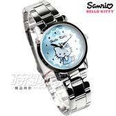 HELLO KITTY 凱蒂貓 簡約時尚造型腕錶 不銹鋼 藍色女錶 LK680LWNI 貓咪