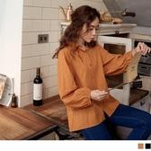 《AB13737》高含棉圓點織紋水滴扣鬆緊長袖襯衫上衣 OrangeBear