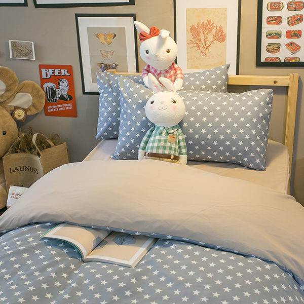 北歐星星藍色 S2單人床包雙人薄被套3件組 四季磨毛布 北歐風 台灣製造 棉床本舖
