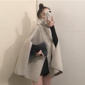 現貨 毛呢外套女韓版寬松高領開叉鬥篷大衣【聚可愛】