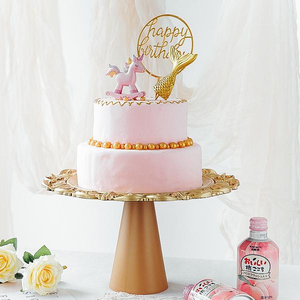 【BlueCat】金色復古盤 甜品高腳托台 (直徑33cm) 托盤 蛋糕盤 拍照道具 美食擺拍 背景 拍攝道具