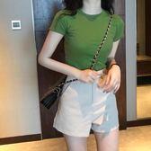 牛油果綠上衣女抹茶芥末綠韓版古著感少女t恤短袖學生森系打底衫 台北日光