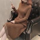 新品上市# 秋冬甜美彈力修身中長款蕾絲拼接長款針織打底衫毛衣女式連衣裙春