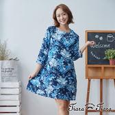 【Tiara Tiara】百貨同步 花繪圓領寬版七分袖洋裝(藍)