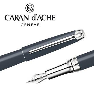 CARAN d'ACHE 瑞士卡達 LEMAN 利曼霧灰漆鋼筆(銀夾)-B / 支