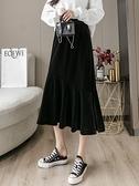 金絲絨半身裙 秋冬季金絲絨黑色魚尾半身裙子女氣質顯瘦高腰中長款A字裙冬裙厚 晶彩