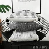 北歐毛球抱枕黑白ins風靠枕辦公室靠墊靠背純色條紋抱枕套不含芯 蘿莉小腳丫 NMS