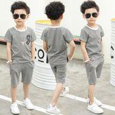童裝男童夏季套裝2018新款中大童男孩短袖兒童寶寶兩件套韓版夏裝WY1128【雅居屋】