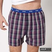 【JEEP】五片式剪裁 純棉平口褲 (紫紅格紋)