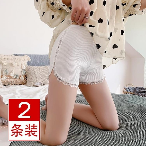 2條裝蕾絲安全褲女夏防走光純棉打底短褲內搭大碼【小酒窩服飾】